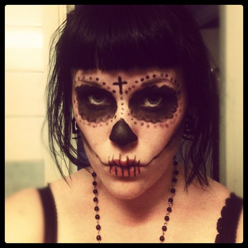 Made a really quick sugar skull makeup! #sugarskull #makeup #skull #skeleton #cross  (Taken with Instagram)