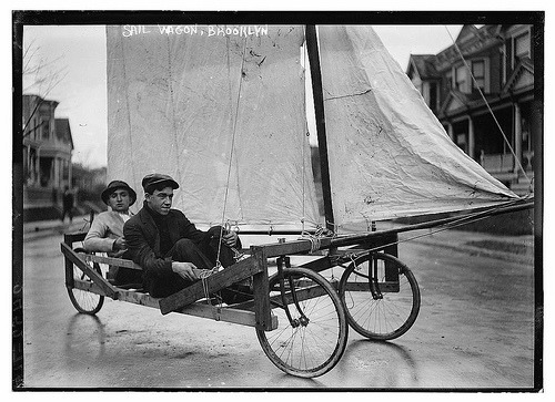 Sail wagon, Brooklyn.  I made one of these when I was a kid!