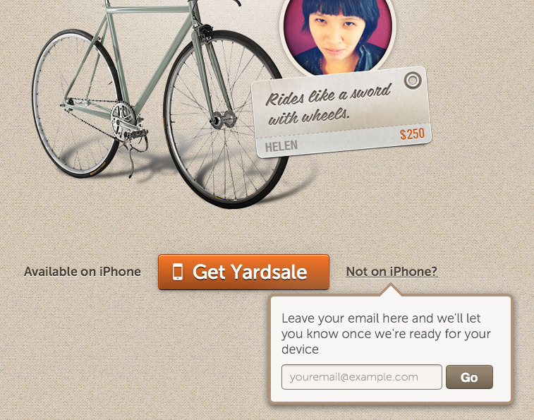 Other OS': don't let those non iOS users go to waste. Yardsale's take on keeping prospective users in the pipe.