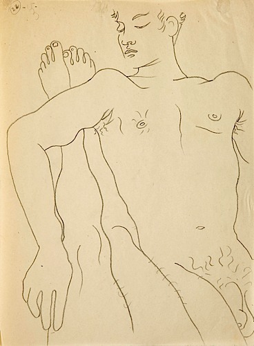 Drawing by Jean Cocteau, illustrating Jean Genet's Querelle de Brest