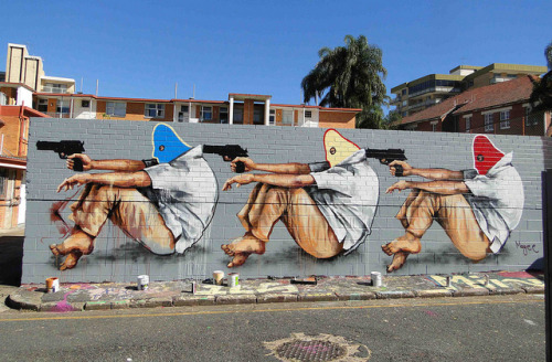 stadtjunge:  The Hijacking, New Farm, Brisbane by Fintan Magee on Flickr.  pretty accurate
