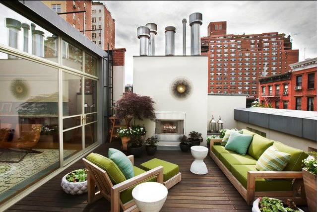 Rooftop terrace by New York City firm Dufner Heighes.