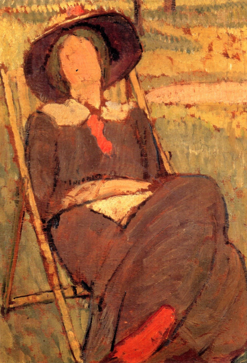 sangfroidwoolf:  'Virginia Woolf in a Deckchair', painted by her sister Vanessa Bell in 1912.
