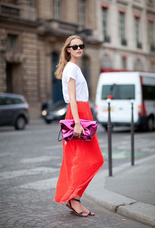 A basic T, a bright skirt and a pop of metallic. #trynow harpersbazaar.com