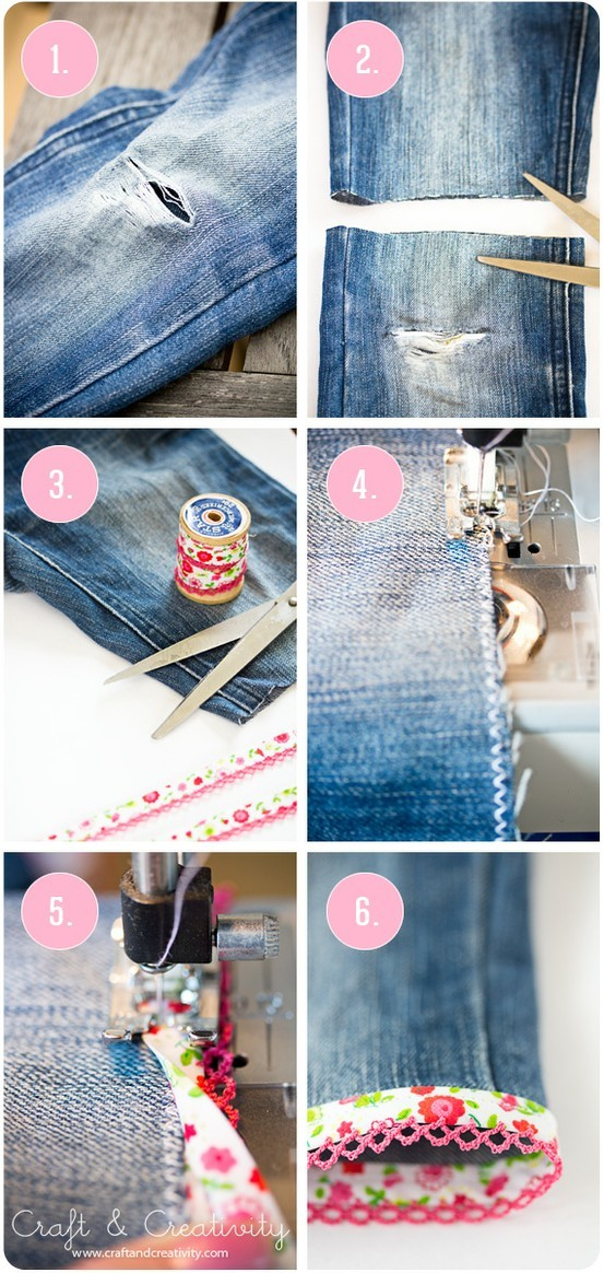 livfoxx:  I'm going to do this with my old jeans! Ripped Jeans Transformed Tutorial from Craft and Creativity Follow Livfoxx