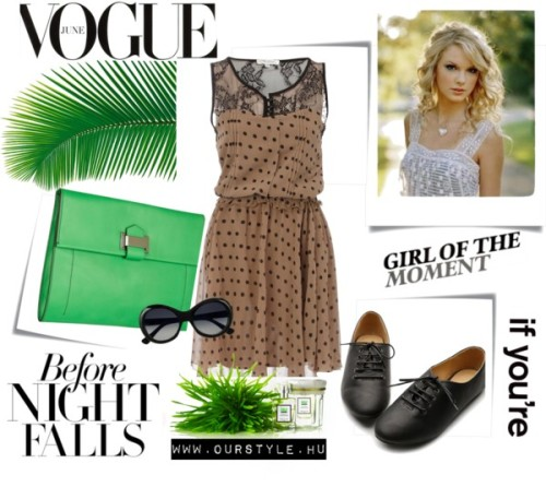 Vogue by laura-34 featuring genuine leather handbagsDorothy Perkins polka dot dress / Kitten heels / Reed Krakoff genuine leather handbag / HONORÉ DES PRÉS Nu Green Eau de Toilette, $70