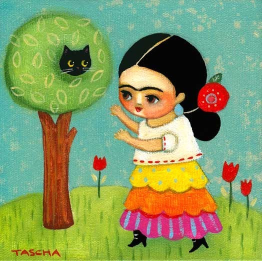 """Frida Kahlo rescues cat from tree"" Original Painting by ©Tascha Parkinson  *__*   Facebook & Etsy"