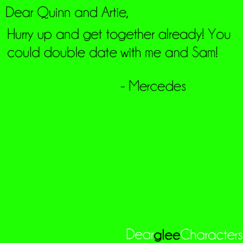 deargleecharacters:  Submitted by artiesgloves.  Would someone fic Samcedes or Pizes (actually I would really love Pizes because they would just scheme so hard) setting up Quartie on a blind date? O.O or maybe I'll do it idk. :|