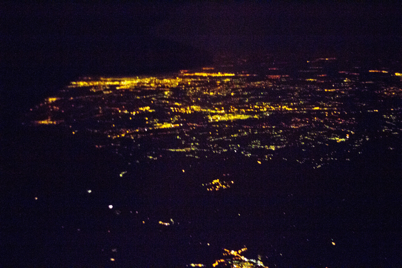 View of Serbia at night from the plane