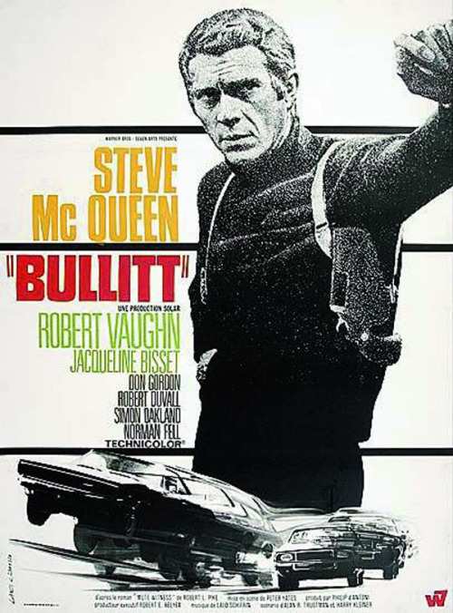 Bullitt poster, starring Steve McQueen See some classic Steve McQueen photographs at Boom Underground, who is posting them as part of a month-long series on Hunks We Were Hot For, male heart-throbs from the 1960s & 70s.