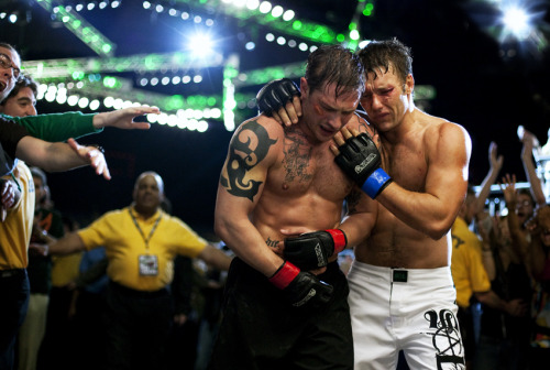 A beautiful still from Warrior, with Tom Hardy & Joel Edgerton.