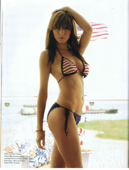 I found another awesome 4th of July pic. Crochet bikini by Anna Kosturova, as featured in Boston Scene Magazine.