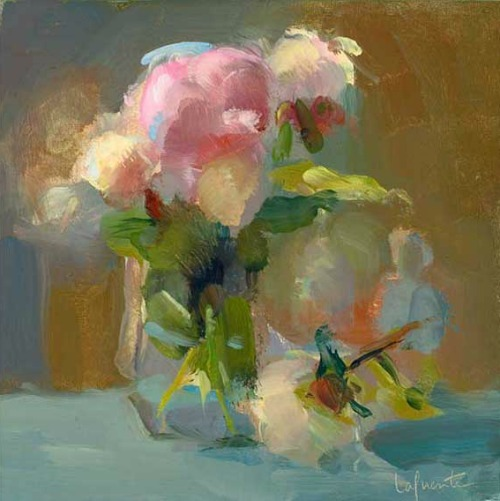 Peonies, Opening and Fallen ~ Christine Lafuente Christine Lafuente is a widely exhibited Painter and Pratt Institute Instructor. She received a Bachelors of Art in English from Bryn Mawr College (1991), a Certificate in Painting from the Pennsylvania Academy of Fine Arts in Philadelphia (1995) and a Masters of Fine Arts in Painting from Brooklyn College (2004). stilllifequickheart:  Christine Lafuente, Peonies, Opening and Fallen, 2010