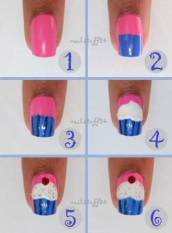 Know-how: cupcake nailstuff24:  Awhile back I was asked to make a tutorial for cupcake nails. Here ya go :)