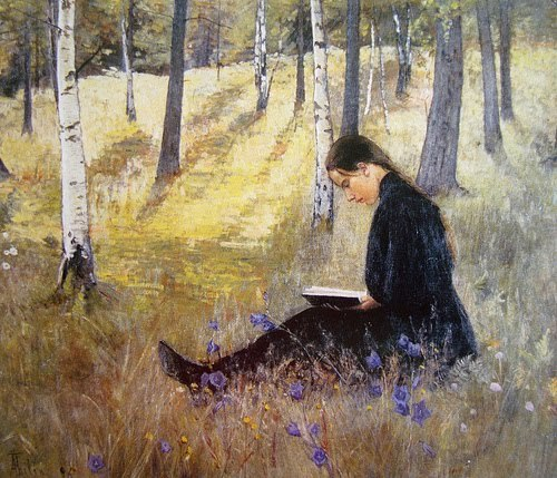 steelylaceribbon:  Ada Thilen, Girl Reading in a Landscape, (1896)  child self gpoy