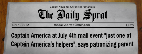 "Captain America at July 4th mall event ""just one of Captain America's helpers"", says patronizing parent"