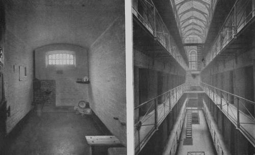 A cell and galleries at Newgate Prison - 1896