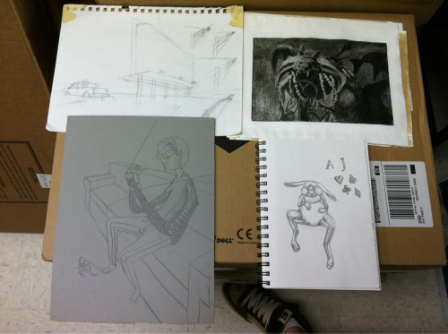 Recent work. Sketches for etchings, first final etching, and the beginning of my second linocut.