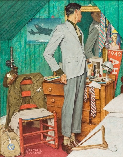 malebeautyinart:  Back to Civvies, Norman Rockwell, The Saturday Evening Post, December 15, 1945Back to Civvies shows a World War II Flying Fortress pilot in the bedroom where he grew up. Rockwell chose props that say a lot about the flyer's life both before and after he went to war. Even his name—-Lt. A. H. Becktoft—-is on the duffel bag on the floor. The insignia on the uniform jacket reveals that he served with distinction. The blue and yellow ribbon with the tiny oak leaf cluster indicates that he received the Air Medal twice.