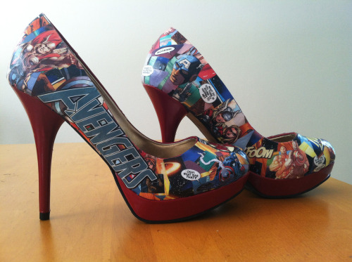 Avengers Comic Book Heels, size 8 by MadeInBoston. $90 pro tip: custom heels and custom flats are also available.