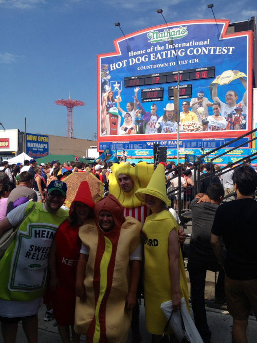 At the Nathan's hotdog eating contest.