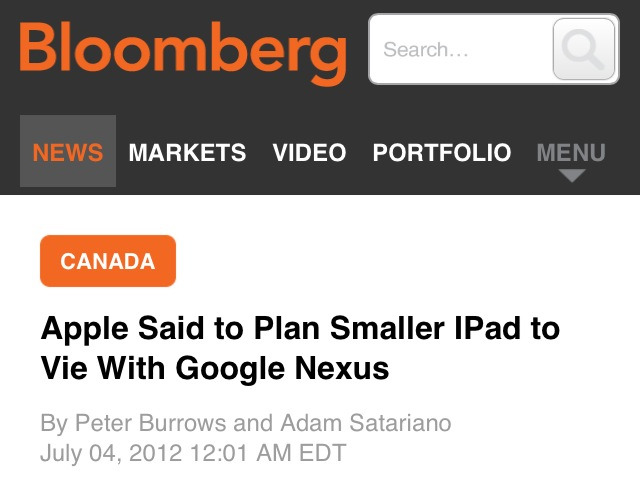 "It drives me nuts that some publications constantly spell iDevices with a capital I in their story titles. Does this not seem wrong to anyone at Bloomberg? And it's not like it's a first, they keep doing it all the time! Now, this would have been half acceptable IMO if this was the their formal ""editorial formatting guidelines"" (I'm not sure what the correct publishing term for this kind of thing is). Sort of like the New York Times always prints full names when they first appear in an article (referring to Steve Jobs as ""Steven P. Jobs"" and ""Mr. Jobs"" from there on out for example), or capitalizing ""World Wide Web"" and ""Web"". I don't like it, but at least it's consistent. But no! Bloomberg sometimes spells iPad correctly, and other times even as Ipad! And don't even get me started on how some publications write DropBox or FaceBook. What a bunch of amateurs. God is in the little details."