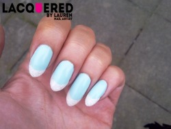Essie Mint Candy Apple and Holo White Glitter French Tips