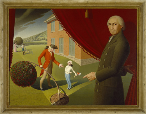 Grant Wood, Parson Weems' Fable, 1939, oil on canvas, Amon Carter Museum of American Art, Fort Worth, Texas I was in a grocery store a few days ago and saw a display promoting cherries as the patriotic, holiday-appropriate fruit because of this story of George Washington and the cherry tree. Um, yeah, I think that's reaching a little, there.