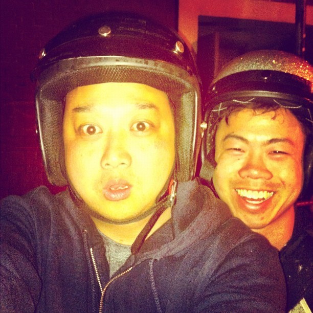 11:47 pm, Tue night. @anthonyha & I riding couple-style on my Vespa thru the Mission. Yup, sounds right. (Taken with Instagram)