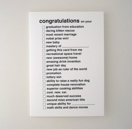 All purpose congratulations greeting card