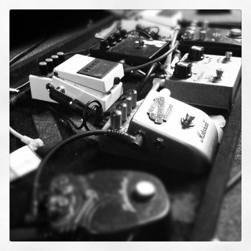 Sam's noise boxes. Playing with Shed 7, Shef Leadmill on Fri!  (Taken with Instagram)
