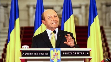 Romanian President Traian Basescu faces impeachment Romania's president faces impeachment after the governing coalition called for him to be suspended. Centre-right President Traian Basescu has been at loggerheads with Prime Minister Victor Ponta, who heads the opposing Social Liberal Union (USL), which has a majority in parliament. If parliament votes for Mr Basecu's suspension, a national poll on his impeachment can follow. Mr Ponta himself is under pressure to resign over allegations of plagiarism. The USL party has asked parliament to hold an extraordinary meeting to suspend Mr Basescu, a party member told a Romanian news agency. Mr Ponta's USL party passed a law to simplify the process of having the president impeached. That law still needs to be considered by the Constitutional Court. The Constitutional Court itself has accused Mr Ponta of trying to dismantle it, and on Tuesday complained to the European Commission that he was threatening the court's independence. The USL, in power since May, says that the court is heavily influenced by Mr Basescu, whose popularity has dropped since he imposed austerity measures agreed with the EU and IMF in 2010. The political conflict between the president and prime minister has stalled decision-making processes in Romania at a time when it is finalising agreements on an IMF-backed aid package for its economy. Pictured: President Traian Basescu is widely associated with unpopular austerity measures