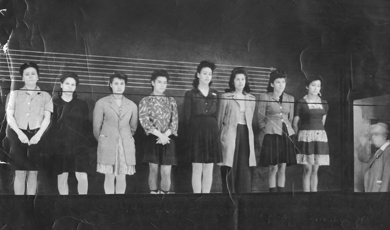 East Los Angeles female gang members in a police lineup, 1942. Source: lapl.org
