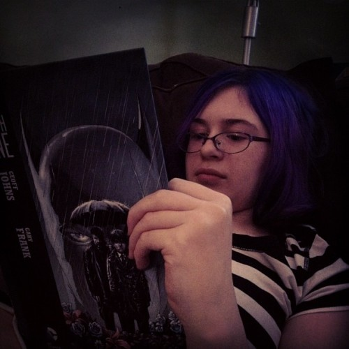 Kayla reading Batman: Earth One (Taken with Instagram)
