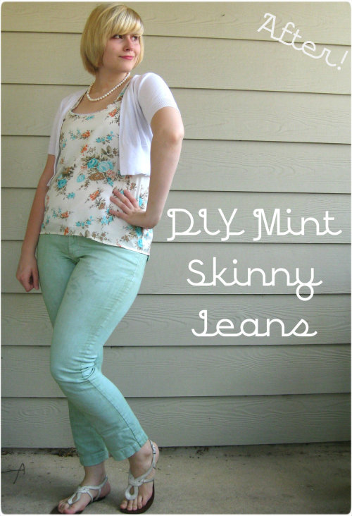 mia-amore:  DIY mint skinny jeans from white thrift store pants… check it out!