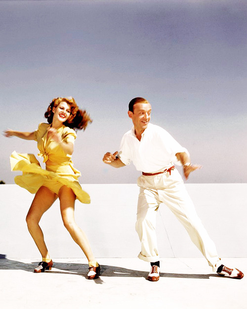 vintagesonia:  Rita Hayworth and Fred Astaire practicing the 'Shorty George' routine from You Were Never Lovelier on top of the studio roof, 1942