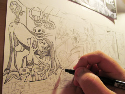 Working on my cover of Pablo Picassos's Guernica for ReMasters of the Universe opening August 11th at Blackbird Tattoo and Gallery in Nashville.