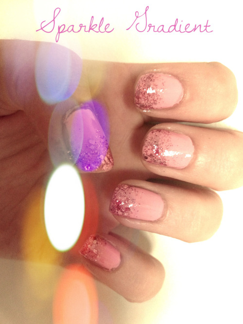 Everythings better with a little sparkle! This is a simple look thats easy to do but has a big effect! 1) Start with a base coat of any colour - I chose Pink Lingerinie by Revlon. 2) Choose a glitter/sparkle nail polish (preferably same colour) - I chose Sangria by True Colors. Start at the top of the nail and slowly fade down to about mid nail. Wait for the first layer to dry, then go in with the brush again and add more polish to the top for more of a gradient effect. 3) Seal the polish in with a top coat. I used Pro-FX Quick Dry. Definitely recommend it!