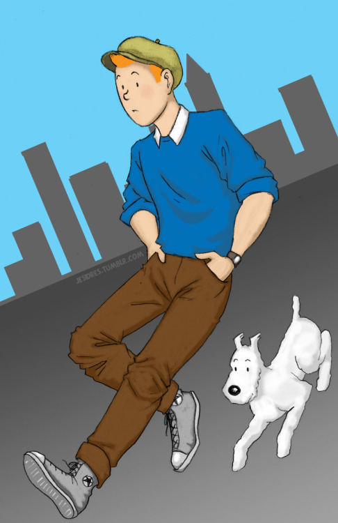 A modern Tintin, wandering the streets in search of a story. Not that he needs to, they just seem to find him. I suspect he's an online reporter, but you could work it any way you want, really.