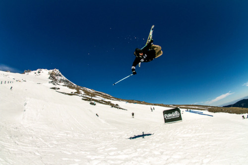 4bi9 athlete Nicky Keefer filming some crazy trickery on the upper jump line. Photo: Riley Snyder
