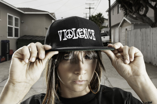 """By Any Means Necessary"" snapback hat Available 7/7/12 Model-Catrina DaCosta Photo by Matt Lingo"