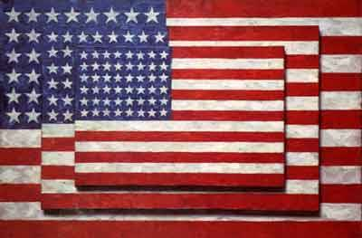 Jasper Johns, Three Flags, 1958   While Johns' work is generally considered to be Neo-Dadaist, he is often identified as a Pop artist due to his use of classic iconic imagery, as seen above.  Johns often utilized the well-known images as they neutralized the need for a subject matter and he could present simple objects as entirely new. Happy Independence Day!
