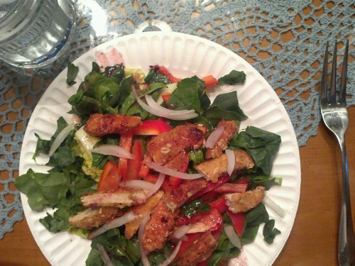 Dinner…chickenless chicken ( yeah lazy i know!) salad made of romaine spinach onion red pepper and some rasberry vinaigrette :)