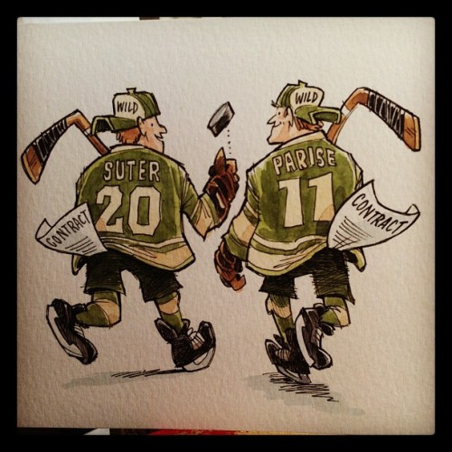 Finished art for tonight's #Parise & #Suter cartoon. @mnwild Check out more from CrowdedComics.com at http://crwded.co/tumb01