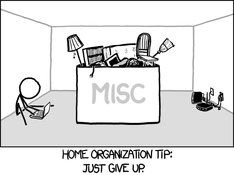 gallifreygal:  laughingsquid:  xkcd: Home Organization   GPOY