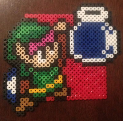 I'm making a set of coasters featuring Super Nintendo sprites with containers.  Second in the series is Link!
