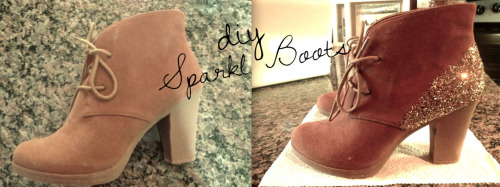 DIY: Sparkle Booties Inspired by: CO-OP Barneys New York Glitter Ankle Boot ($245) I loved the booties from Barneys that I saw a while back, but there was no way I could afford almost $300 on a pair of boots! I decided to make my own cheap version. What I used: Ankle boots from Payless, Elmers glitter in gold and Elmers tacky glue. Simply put the glue on the back of the bootie (Or wherever you want some sparkle!) smooth it out with either a brush or your finger then spring on glitter while the glue is still wet. Let dry and that's it, a brand new pair of boots!