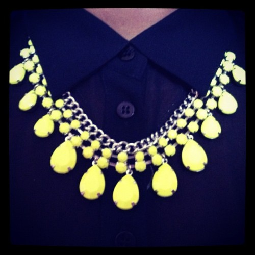 Totally digging #fluro right now ❤❤ #necklace #black #shirt #jewelry #jewellery #clothes #fashion #style #vintage #statement #accessory #bold #hot #cute #beautiful #love #teardrop #button #ootd #iphoneography #lotd #ootn #girl  (Taken with Instagram)