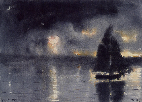 Winslow Homer, Sailboat and Fourth of July Fireworks, 1880