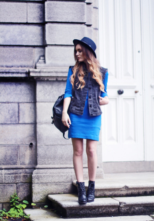 what-do-i-wear:  Dress – Sandro, Necklace – Ziba, Denim cut-off jacket & Shoes – Chicwish.(image:anouskaproettabrandon)